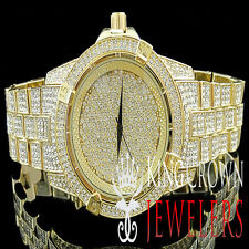 YELLOW GOLD FINISH MENS FULL ICED OUT LAB DIAMOND JO RODEO JOJINO CUSTOM WATCH
