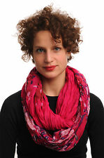 Red and Pink Flowers on Dark Fuchsia Pink Snood Scarf (SF000643)