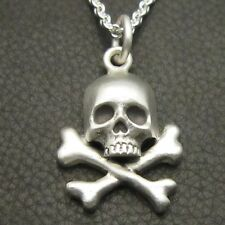 MJG STERLING SILVER SKULL & BONES PENDANT- #2. BIKER. GUITAR PLAYER. SLASH