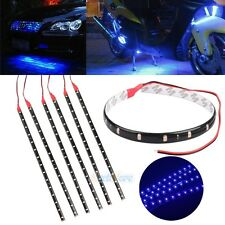 6PCS Waterproof 12''/15 DC 12V Motor LED Strip Light For Car Motorcycle Blue USA