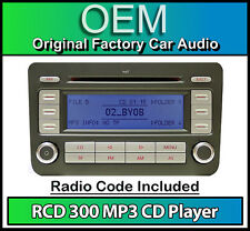 Vw RCD 300 Mp3 Reproductor De Cd Radio, Golf Plus Auto Stereo Unidad Principal Con Radio código