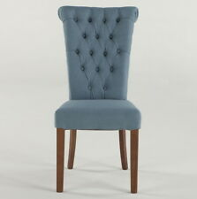 """Set of two 39"""" W Carlos Dining Chair Upholstered frost blue walnut Hand Made"""
