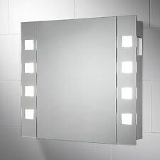 ILLUMINATED BATHROOM CABINET MIRROR WITH SHAVER SOCKET & DEMISTER PAD 650 X 600