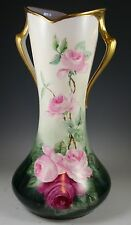 """16.5"""" Tall LIMOGES PORCELAIN  VASE  HAND PAINTED ROSES"""