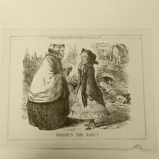 """7x10"""" punch cartoon 1861 WHERES THE BABY ? john russell reform , st stephens"""