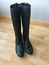 CLARKS Black Leather & Elasticated Panel Knee High Boots. Size 7d. VGC