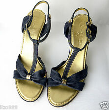 Chanel Heeled Ankle Strap dark denim sandals Sz EU 39.5 / UK 6.5