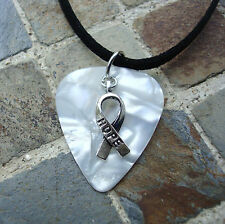 Hope Ribbon Guitar Pick Necklace, Pearl Swirl, Lung Cancer, Emphysema, MS