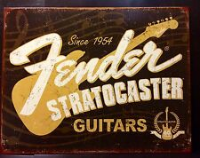 Fender Stratocaster Guitar TIN SIGN vtg Pub Poster Wall Decor Music 30x40 Cm