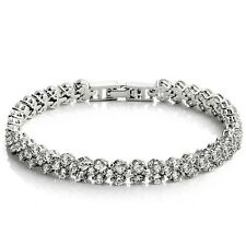 White Gold Plated Wedding Crystal Tennis Bracelet made with Swarovski Elements