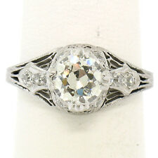 Antique Art Deco Platinum 1923 Filigree 1.25ctw Old European Diamond Solitaire