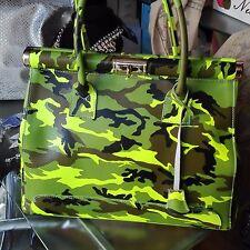 borsa in pelle donna militare mimetica camouflage nuova fluo