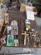 Large Lot of 49 Old Vintage Catholic Religious Crosses and Pieces