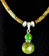 Native American Green Turquoise Heishi Sterling Silver Necklace Pendant