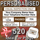 520 Personalised VISUAL INSPECTION PAT Test Testing Labels / Stickers