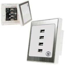 4 USB Ports Home Wall Charger Plate Outlet Panel Safety Power Supply Socket UK