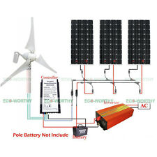800W Hybrid Kit: 400W Wind Generator + 3*160W Solar Panel+ 1000W Inverter 3000W