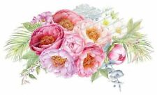 ~Shabby Watercolor Soft Pastel Peonies Flowers Bouquet Waterslide Decals~ FL374