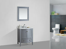 """BLOSSOM 30"""" ROME SINGLE SINK BATHROOM VANITY WITH MARBLE TOP, GREY COLOR"""