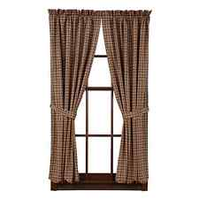 """New Country Primitive Log Cabin BROWN TAN PLAID PANELS Drapes Window Curtain 63"""""""
