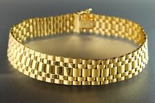 """14K Yellow Solid Gold Flexible Link Wide Mens or Womens Bracelet 8"""" Italy 21g"""