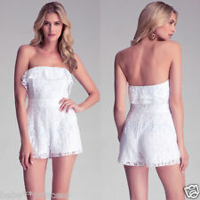 NWT bebe white all ruffle strapless top dress shorts romper jumper M medium 6