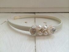 Ivory Satin Alice Band Hairband Glitter Flowers Pearl Bridesmaid Flower Girl