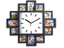 12 MULTI HANGING APERTURE COLLAGE PHOTO FAMILY PICTURE FRAME & TIME WALL CLOCK
