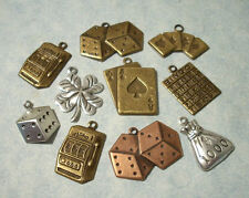 10pc Gambling Charms Casino Slot Machine Dice Poker Cards Bingo