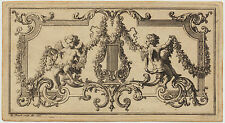 ENGEL + Lyra kleiner Original Picart Ornament Kupferstich 1727 Barock Musik