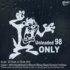 Petrol Unleaded 98 Only Car Sticker Funny Reflective Cartoon Taz Decal Best Gift