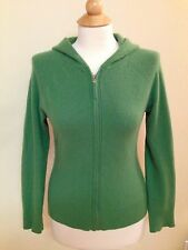 100% cashmere cardigan HOODIE  LARGE front zip ANN TAYLOR green