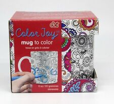 Color Joy Stoneware Coffee Mugs Oasis Adult Coloring Products, White De-stress