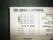 1959 Lincoln & Continental 430 CI V8 SUN Electric Tune Up Chart Great Condition!