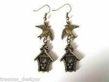 *CUTE FLYING BIRD OVER HOUSE* Antique Gold Earrings VINTAGE STYLE bronze GIFT