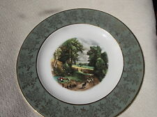VINTAGE DISPLAY PLATE WEATHERBY HANLEY FALCON GILDED GREEN RIM FAMOUS PAINTINGS