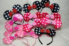 12pcs Minnie Mouse Ears Headband Pink, Red, Bows-Black-Polka Dot Party Favors