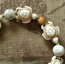 WHITE HOWLITE TURTLE, JASPER & 14K GOLD FILLED BEAD BRACELET $22.00!