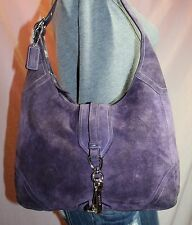COACH Purple Suede Medium Shoulder Hobo Tote Satchel Slouch Purse Bag
