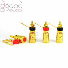 4 x Spring Loaded Gold Plated Speaker Binding Posts Terminals 5 mm Connectors