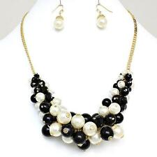Black Cream Pearl Crystal Gold Cluster Earrings Necklace Jewelry Set Chunky