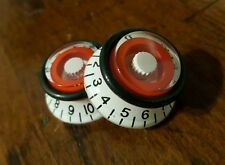 2 Guitar Top Hat Volume/Tone Knobs With JAT- SPEED GRIPS... White/Red.... JAT