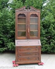 Grand Victorian Solid Rosewood Fall Front Secretary Desk w Bookcase Top c1865