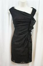 Suzi Chin for Maggy Boutique Dress sz 4 Black Fig Sleevless Evening cocktail