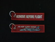 Cloth Keyring - F/A-18E/F Super Hornet on front, Remove Before Flight on reverse