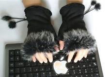 Damen Handschuhe Fingerlose Winterhandschuhe Armstulpen Pulswärmer Fell binnbonn