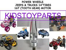 One New 12,18 VOLT Power Wheels 16T Motor Barbie, TRUCKS, 4X4 JEEPS, ESCALADES
