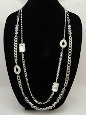 Brilliant New High End Silver Tone Crystal Statement Necklace by JTV #N52170SC