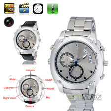 Silver HD 1080P 8GB Night Vision Hidden Spy Wrist Watch Camera Video DV Recorder