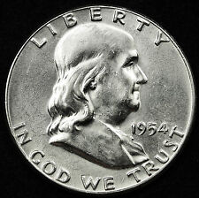 1954-p  Franklin Half Dollar. 100% Fully Separated Bell Line's. Nice B.U. (Inv.A